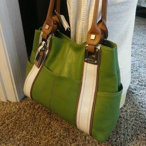 Tignanello Shoulder Handbag Green and White